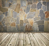 Stone wall and timber floor Royalty Free Stock Photos