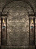 Stone wall with torches. Stone wall background with torches Royalty Free Stock Image
