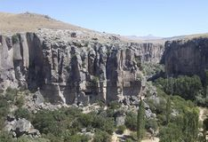 Stone wall, valley, natural view. Ihlara valley in in Central Anatolia Stock Photography