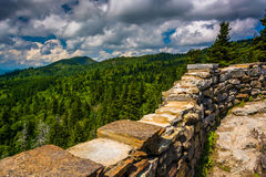 Stone wall and view of the Blue Ridge from Devils Courthouse, ne Stock Images
