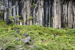 Stone wall by the waterfall Svartifoss Royalty Free Stock Image