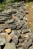 Stone Wall. Waynesboro, VA – October 3rd: A stonewall exhibit at the Humpback Rocks Farm Museum located at milepost 5.9 of the Blue Ridge Parkway, Virginia Royalty Free Stock Image