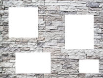 A stone wall with white windows Stock Photo