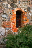 Stone wall with window royalty free stock photos