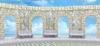 Free Stone Wall With Arches And Benches By The Ocean Royalty Free Stock Photo - 203037175