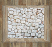 Stone wall in wood box Royalty Free Stock Photography