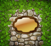 Stone wall with wooden shield Stock Photography