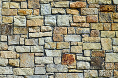 Stone wall. Wall of yellow limestone in a city park in Prague, Czech Republic Royalty Free Stock Photography
