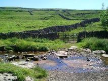 Stone walled fields & stream Stock Photos