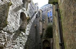 Stone Walls. The stone walls of the abbey of Mont St Michel Stock Images