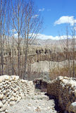 The stone walls around the gardens in the Upper Mustang, Nepal Royalty Free Stock Photo
