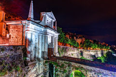 Stone walls of Castle La Rocca in Bergamo old town Royalty Free Stock Photos