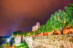 Stone walls of Castle La Rocca in Bergamo old town Royalty Free Stock Images