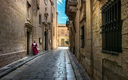 Stone walls of the city of Mdina. Malta. Prospects of the old streets Royalty Free Stock Images
