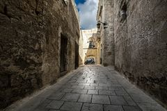 Stone walls of the city of Mdina. Malta. Prospects of the old streets stock images