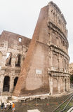 The stone walls of the Colosseum.  Rome Stock Images