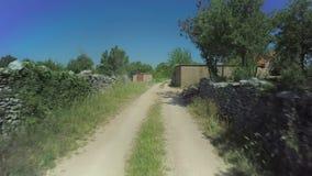 Stone walls in Dalmatian hinterland, aerial shot stock video footage