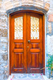 Stone walls and a door in the medieval Royalty Free Stock Photo