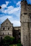 The stone walls of the Gravensteen castle in Ghent, Belgium stock images