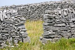 Stone walls in Inisheer, Aran Islands, Ireland. Traditional stone walls in Inis Oirr, Aran Island, Ireland Stock Photography