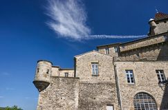 The stone walls of the medieval castle. Of Aubenas in France stock image