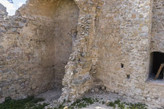 Stone walls of a medieval castle. Town of Consuegra in the provi Royalty Free Stock Photo