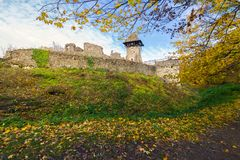 Stone walls of medieval fortress. Nevytsky castle is one of the most popular tourist attraction of TransCarpathia royalty free stock image