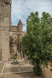 Stone walls and people inside the Gravensteen Castle at Ghent. royalty free stock photos
