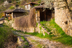 Stone walls and terraces in the village of Leshten Stock Photos