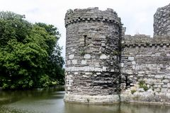 The Turret on the Castle. The stone walls of a turret at Beaumaris Castle in north Wales Royalty Free Stock Photos