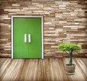 Stone walls, wooden floor front entrance. Stock Image