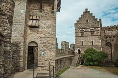 Stone watch-tower, door and walls inside the Gravensteen Castle at Ghent stock image