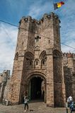 Stone watch-tower with gateway of Gravensteen Castle in Ghent. Ghent, Belgium - July 03, 2017. Stone watch-tower with gateway of Gravensteen Castle in Ghent. In Stock Photo