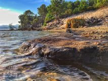 Stone and water. Stone in water and a tent from ferns Royalty Free Stock Images