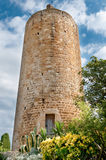 Stone water tower, Peratallada, Spain Royalty Free Stock Photography