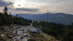 Stone way to the Snezka. Trip mountains on sun down Stock Image