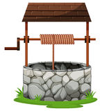Stone well with rooftop. Illustration vector illustration
