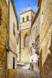 Cobblestone street in the village of Trujillo, in Caceres, Spain Royalty Free Stock Photo