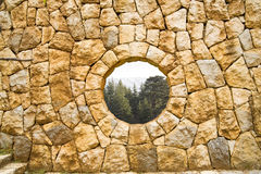 Stone window. With cedars of Lebanon view Royalty Free Stock Photos