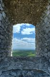 Stone window. The view over the landscape stone window Stock Images