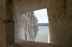 Stone window from the Belem tower Stock Photo