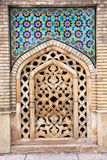 Stone window of Golestan palace, Tehran. Mosaic wall and stone window of Golestan  palace, Tehran, Iran Stock Photos