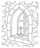 Stone Window Illustration. A black and white illustration of an old stone window with a candle Vector Illustration