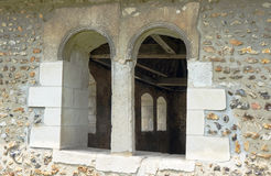 Stone window in medieval parish church Stock Image