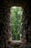 STONE WINDOW. Old stone window inside a Colonal fortress in southern Brazil Stock Photos