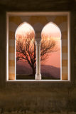 Stone window of a villa. Detail of a window made out of marble and limestone in Lebanon Royalty Free Stock Photography