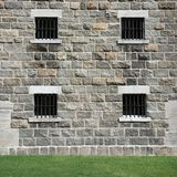 Stone Window With Metal Lattice Stock Photography