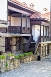 Stone-wood architecture of the ancient town of Sozopol in Bulgaria Royalty Free Stock Photo