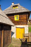 Stone and wood in architecture Kusturica Drvengrad, Serbia Royalty Free Stock Photography