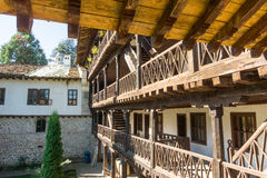 Stone-wood architecture of the old Troyan Monastery, Bulgaria stock photo